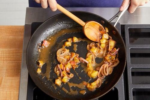 Make the peach pan sauce & serve your dish: