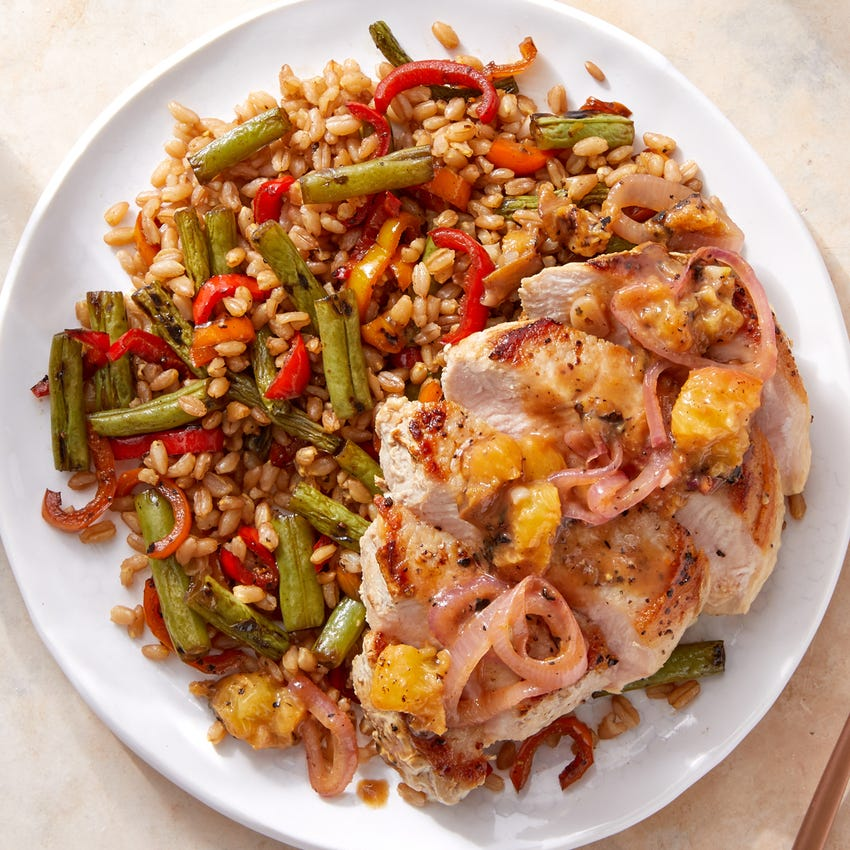 Pork Chops & Peach Pan Sauce with Green Bean & Sweet Pepper Farro