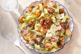 Seared Chicken & Romaine Salad with Croutons & Creamy Caper Dressing