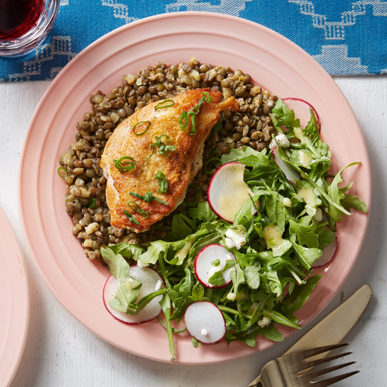 Seared Chicken & French Lentils with Arugula & Feta Salad