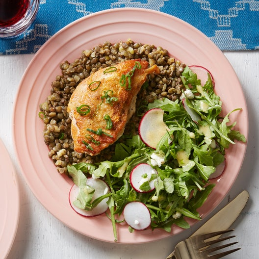 Seared Chicken & French Lentils with Arugula & Feta Salad