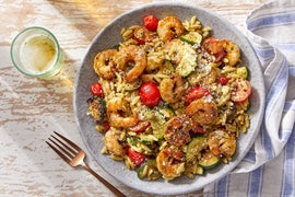 Pesto Shrimp  & Orzo with Zucchini & Tomatoes