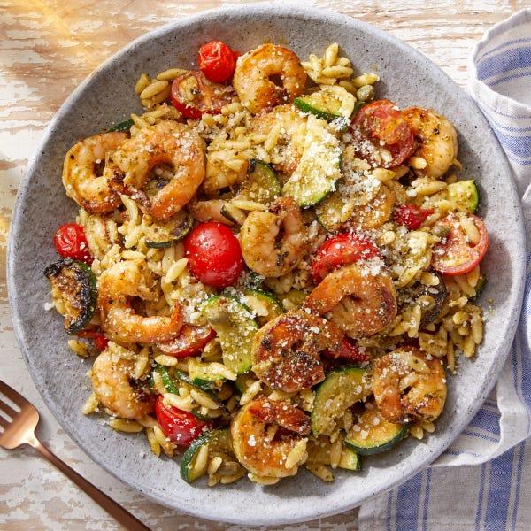Pesto Shrimp  & Orzo with Zucchini & Tomatoes