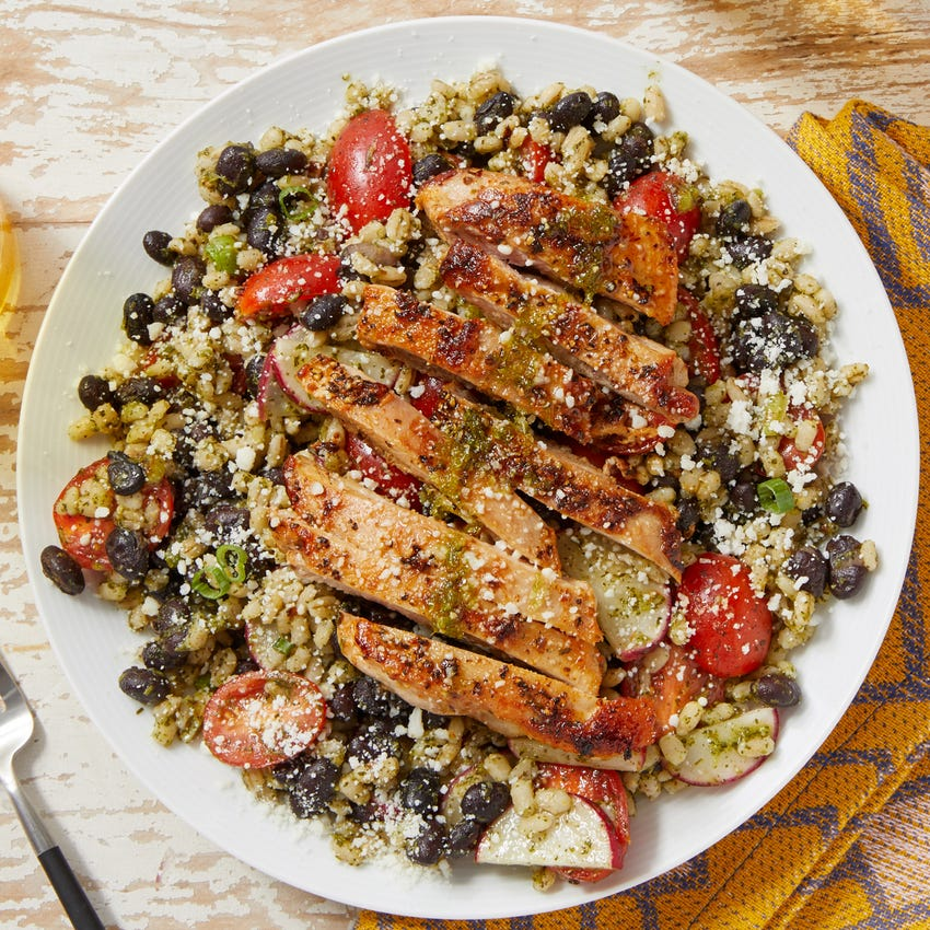 Seared Chicken & Honey-Lime Sauce with Cilantro Barley Salad