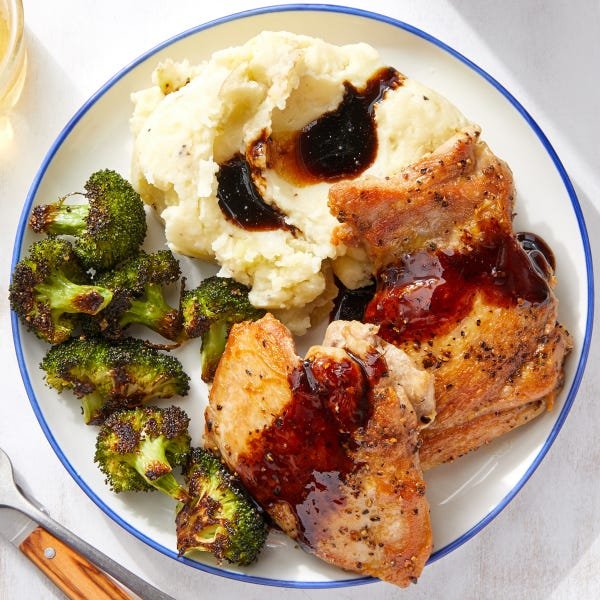 Balsamic-Glazed Chicken Thighs with Goat Cheese Mashed Potatoes & Broccoli