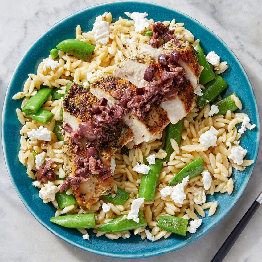 Mediterranean Chicken & Orzo with Snap Peas, Feta & Olives
