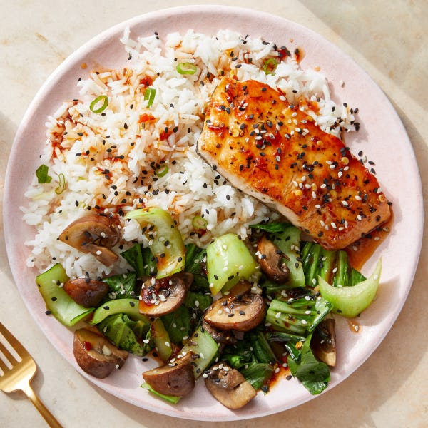 Seared Salmon & Spicy Sesame Sauce with Bok Choy & Mushrooms