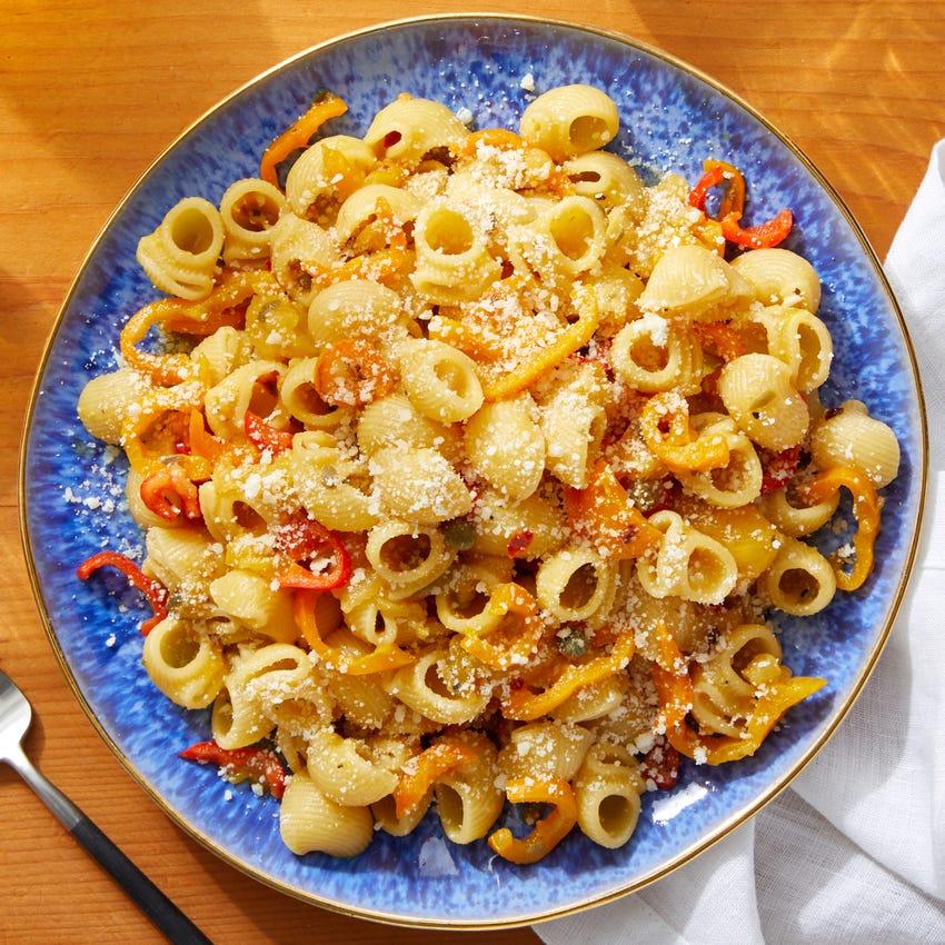 Yellow Tomato & Saffron Pasta with Parmesan Cheese