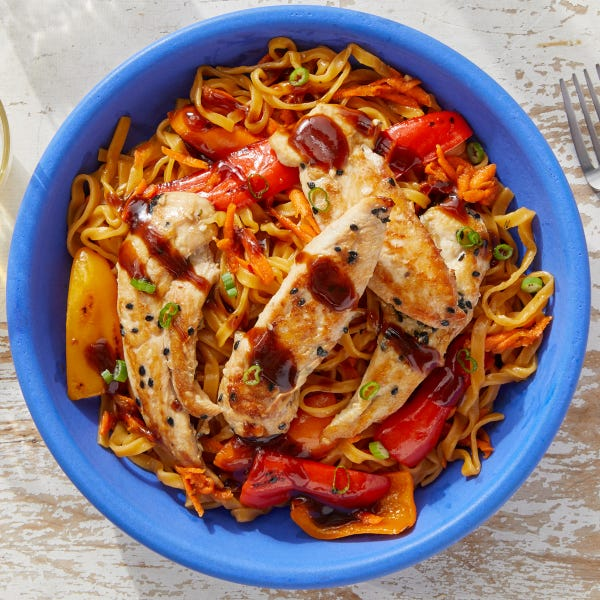 Seared Chicken & Hoisin Sauce with Sesame-Sweet Chili Wonton Noodles