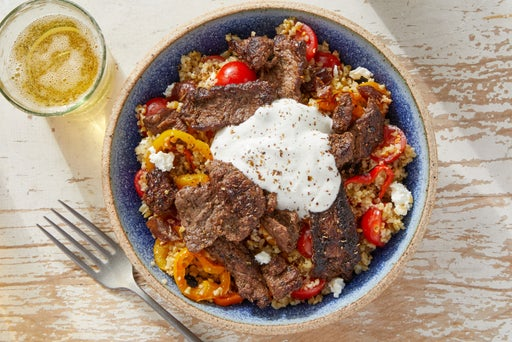 Za'atar Beef & Freekeh with Tzatziki & Feta Cheese