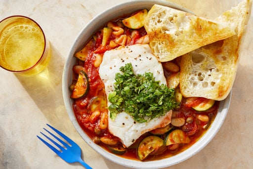 One-Pan Cod & Stewed White Beans with Garlic Toast