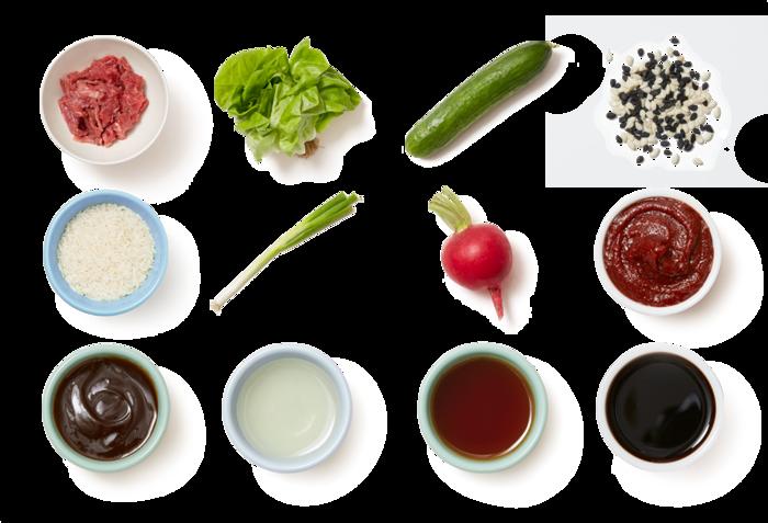 Gochujang Beef Lettuce Cups with Sesame Vegetables  & Jasmine Rice