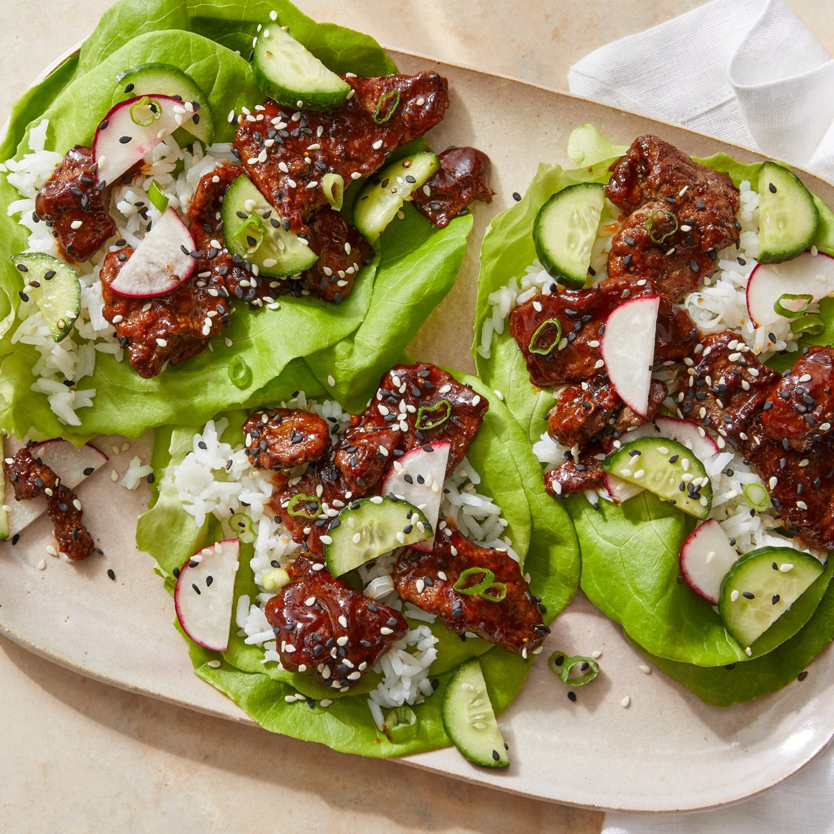Gochujang Beef Lettuce Cups with Sesame Vegetables  & Jasmine Rice