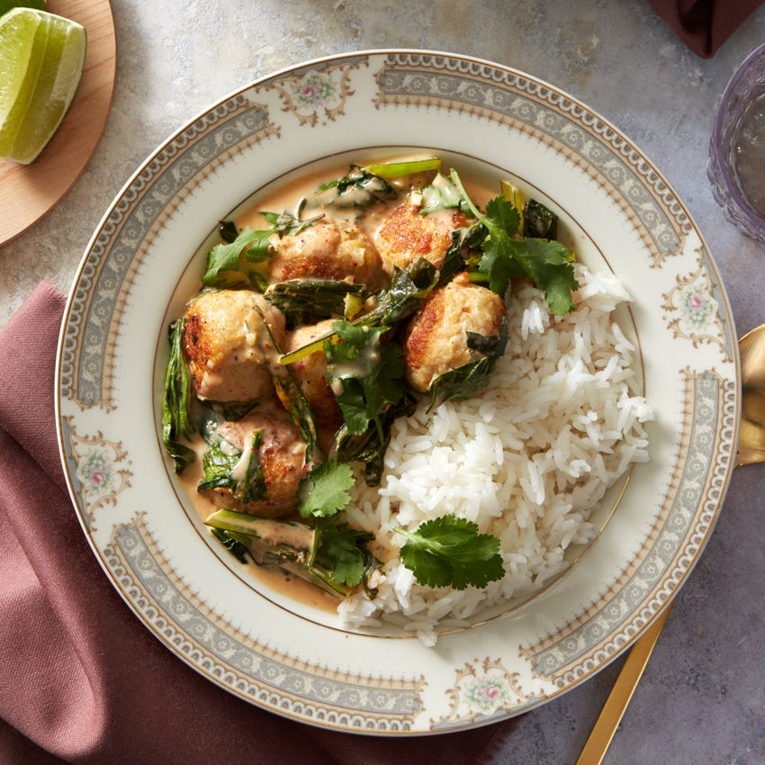 Spicy Thai Red Curry Meatballs with Jasmine Rice & Yu Choy
