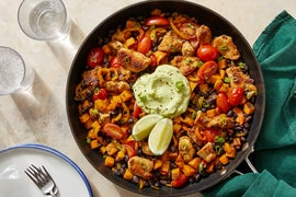 Mexican-Style Chicken & Vegetable Skillet with Guacamole