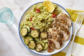 Seared Chicken & Zucchini with Pesto Rice & Parmesan