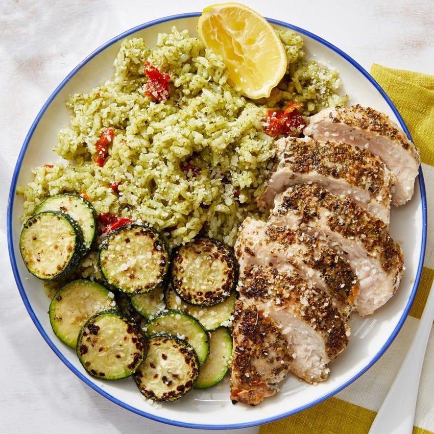 Seared Chicken & Zucchini with Pesto Rice & Parmesan