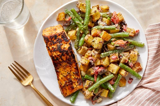 Salmon & Niçoise-Style Potato Salad with Roasted Red Peppers