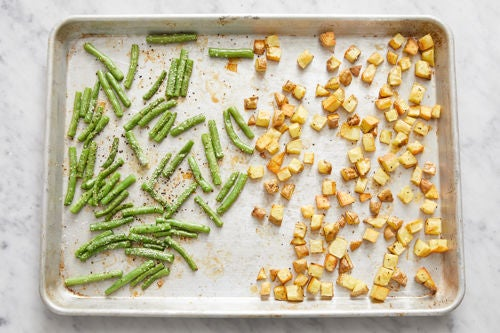 Roast the green beans & finish the potatoes: