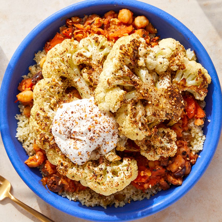 Roasted Cauliflower Steaks with Moroccan-Style Chickpeas & Couscous