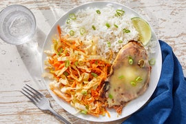 Cheesy Mexican-Spiced Chicken with Rice & Chipotle Cabbage Slaw