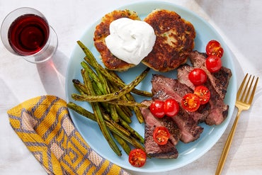 Seared Steaks & Green Beans with Sour Cream & Cheesy Scallion Potato Cakes