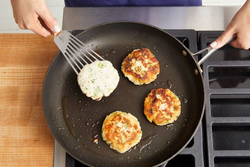Cook the potato cakes & serve your dish: