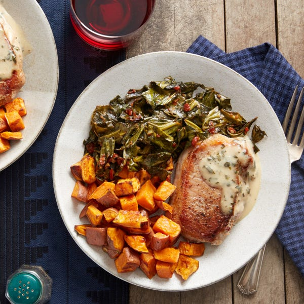 Maple Gravy-Smothered Pork Chops with Collard Greens & Roasted Sweet Potato