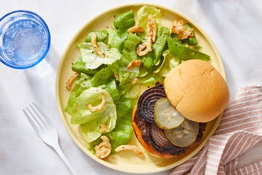Beef Burgers & Tomato Chutney Mayo with Butter Lettuce & Sweet Chili Dressing
