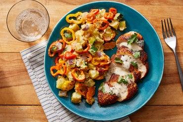 Spanish-Style Chicken & Potato Salad with Almonds & Fig Mayo