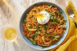 Cold Sesame Noodles with Carrots, Bok Choy & Soft-Boiled Eggs