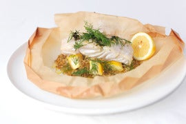 "White Fish ""En Papillote"" with Freekeh"