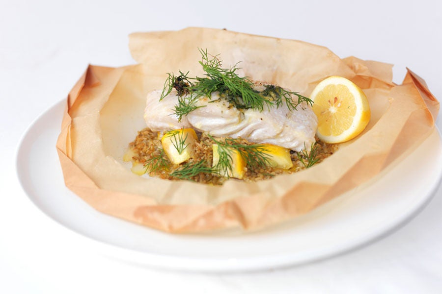 recipe white fish en papillote with freekeh blue apron