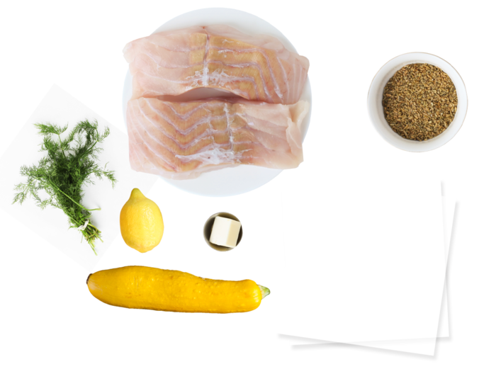 "White Fish ""En Papillote"" with Freekeh ingredients"