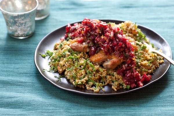 Orange Chicken Thighs with Cherry Salsa  & Green Wheat Freekeh Salad