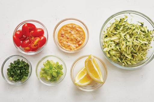 Prepare the ingredients & make the vinaigrette: