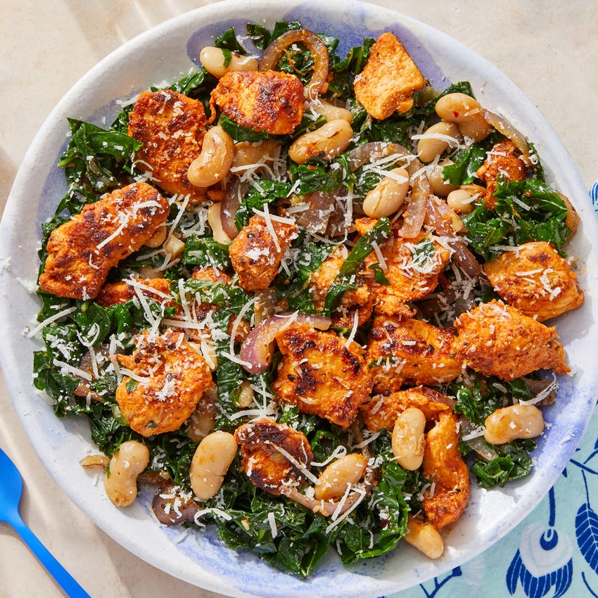 One-Pan Chicken & Cannellini Beans with Kale & Preserved Lemon