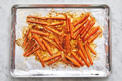Prepare & roast the carrots: