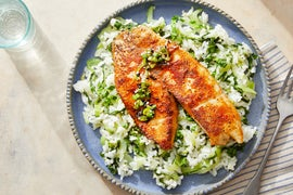 Seared Tilapia & Honey-Lime Sauce with Bok Choy & Jasmine Rice