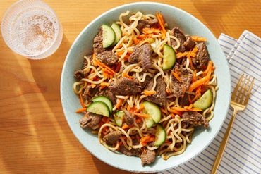 Chilled Lemongrass Beef & Noodles with Marinated Vegetables & Cucumber
