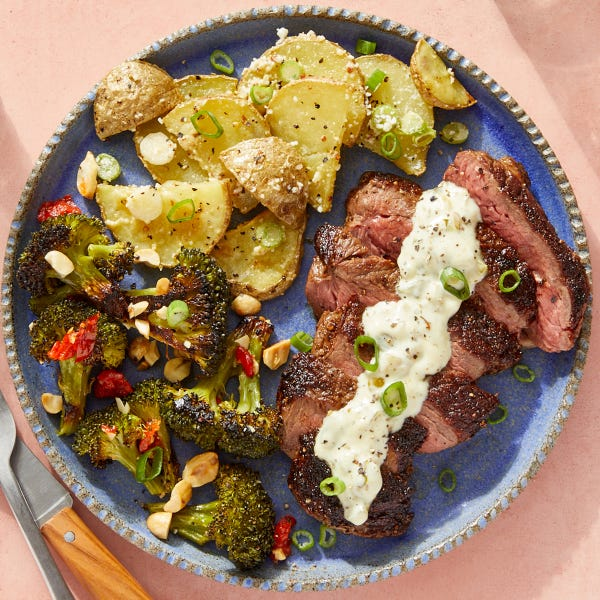 Southern-Spiced Steaks with Roasted Broccoli & Mustard-Dressed Potatoes