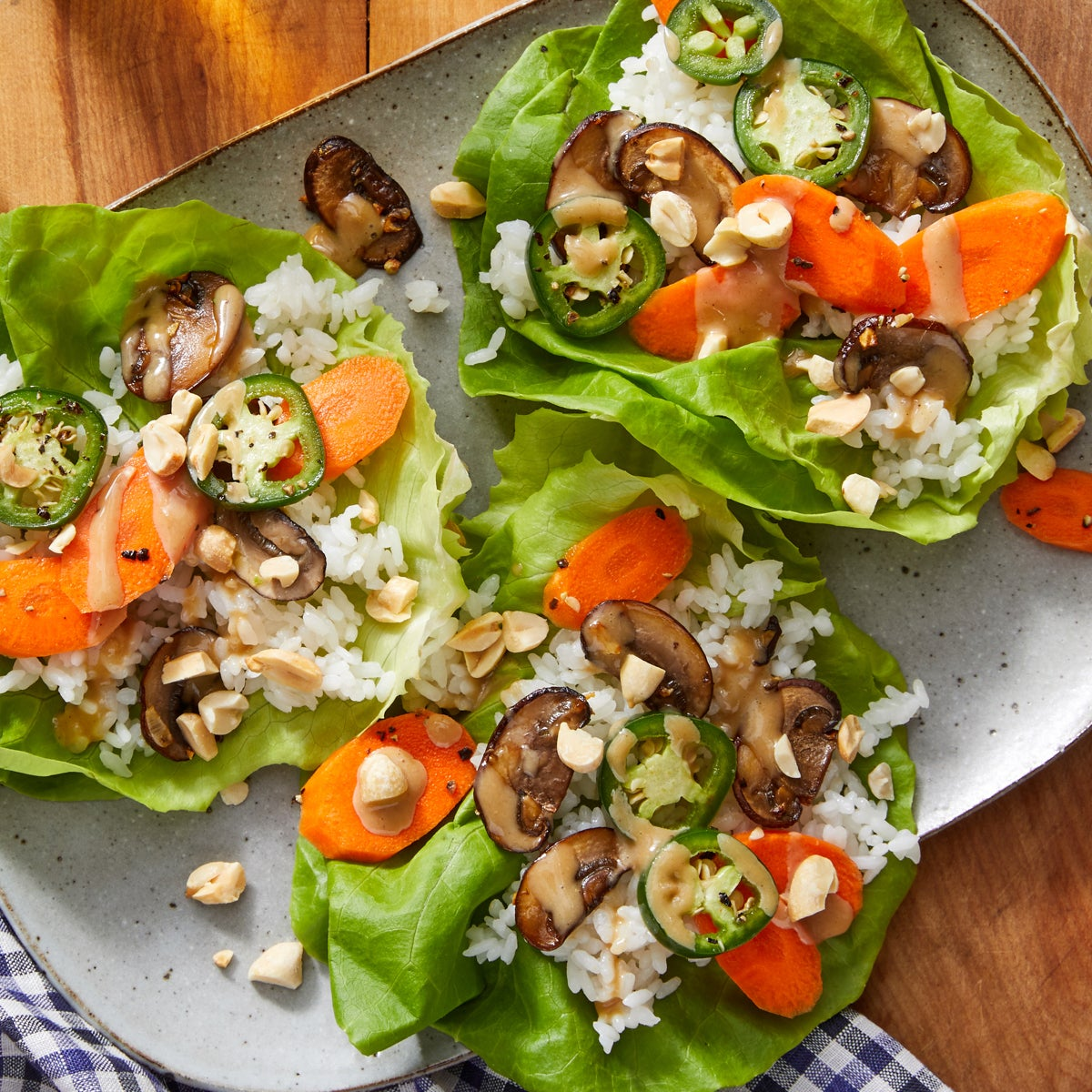 Spicy Carrot & Mushroom Lettuce Cups with Tahini Sauce
