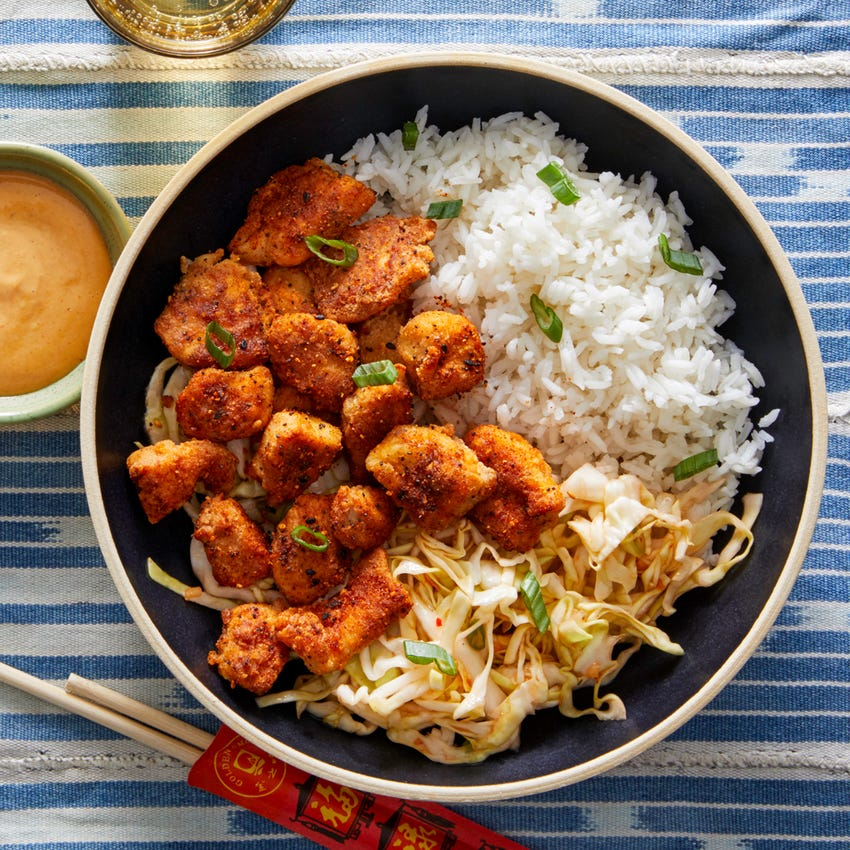 Togarashi Popcorn Chicken with Sweet Chili Cabbage Slaw
