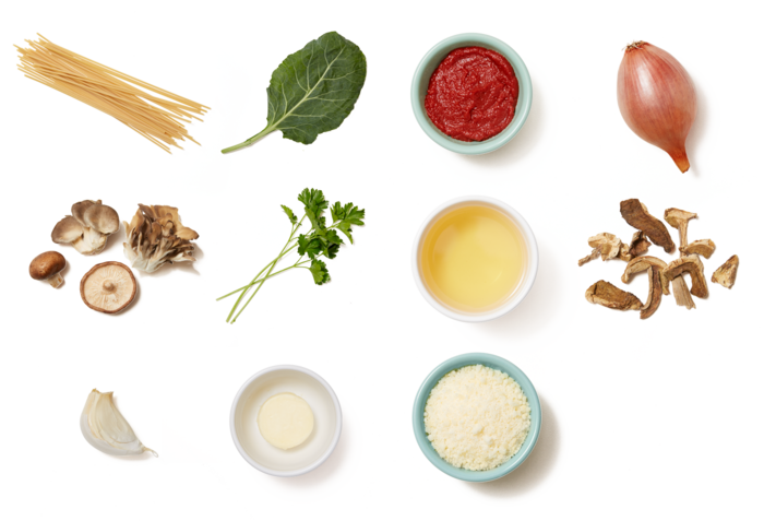 Mixed Mushroom Bucatini with Collard Greens & Pecorino Cheese ingredients