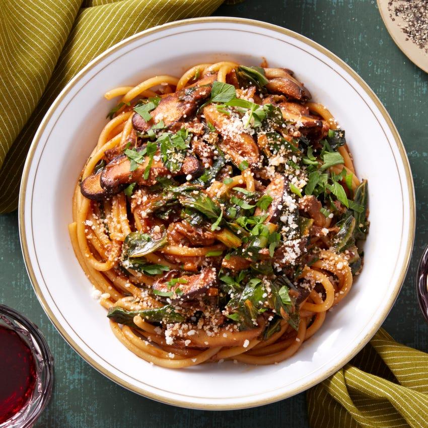 Mixed Mushroom Bucatini with Collard Greens & Pecorino Cheese