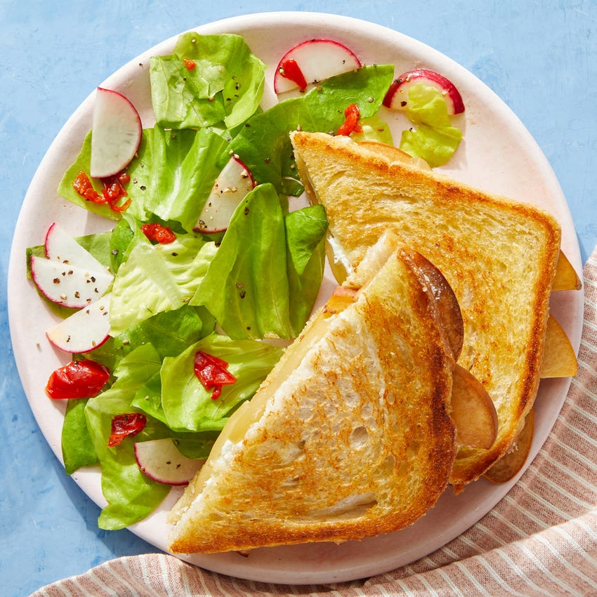 Peach & Fontina Grilled Cheese with Butter Lettuce & Radish Salad