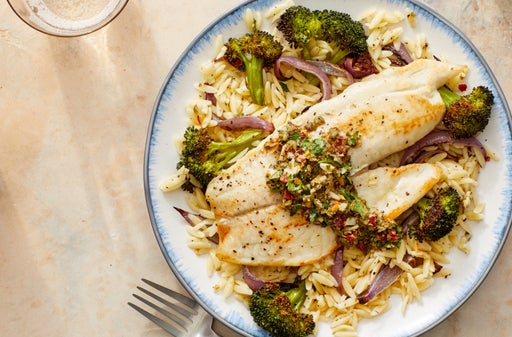 Seared Tilapia & Orzo with Roasted Broccoli & Salsa Verde