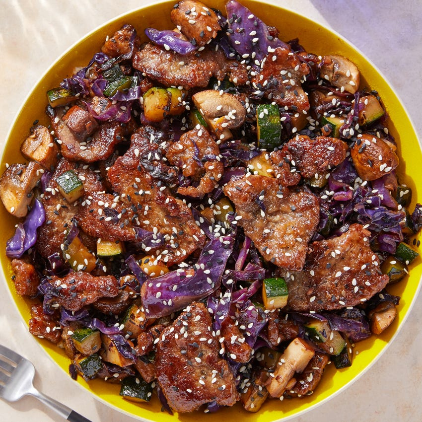 Sweet & Spicy Beef Stir-Fry with Mushrooms, Cabbage & Zucchini