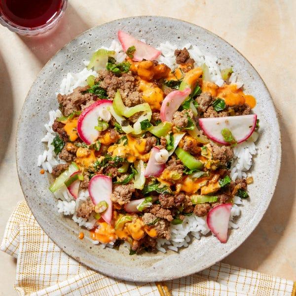 Korean-Style Beef & Gochujang Mayo with Jasmine Rice & Bok Choy