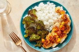 Seared Chicken & Ginger-Peach Sauce with Ponzu Broccoli & Jasmine Rice